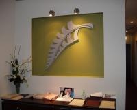 Lasercut 3D leaf in wall nook