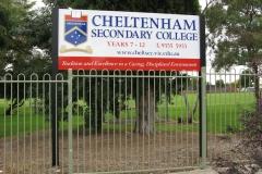 Cheltenham Secondary College Entrance sign.