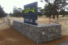 Gabion wall build & Core 10 metal fabricated sign