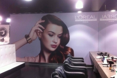 Loreal wall graphics applied to plaster wall